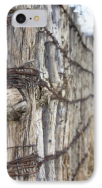 IPhone Case featuring the photograph Log And Wire Fence by Phyllis Denton