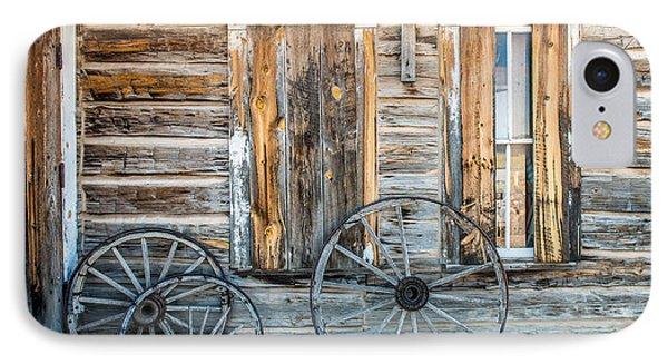 Log Cabin And Wagon Wheels IPhone Case by Paul Freidlund