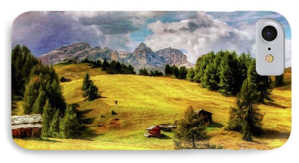 Log Cabin Landscape By Sarah Kirk IPhone Case