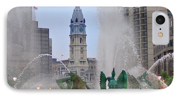Logan Circle Fountain With City Hall In Backround 2 Phone Case by Bill Cannon