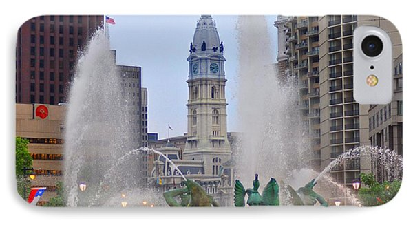 Logan Circle Fountain With City Hall In Backround 4 Phone Case by Bill Cannon