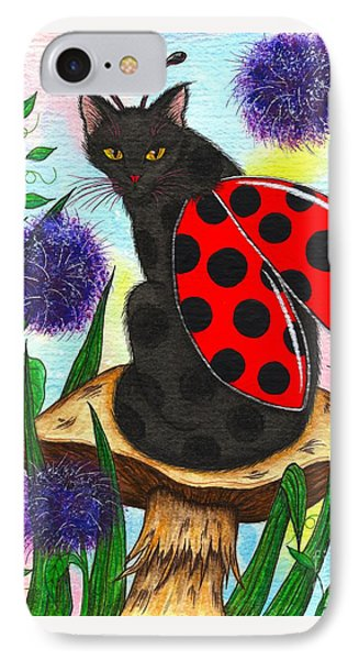 Logan Ladybug Fairy Cat IPhone Case by Carrie Hawks