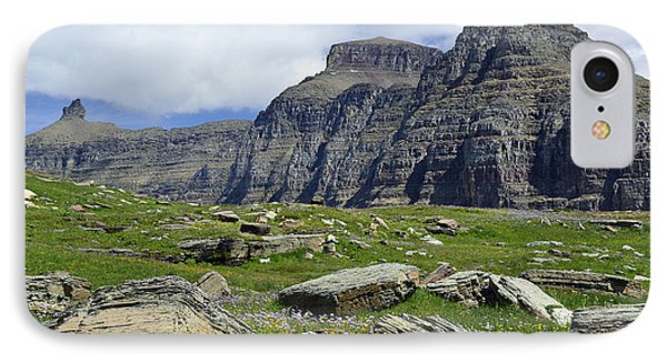 Logan Pass Meadow And Mountains In Glacier National Park IPhone Case