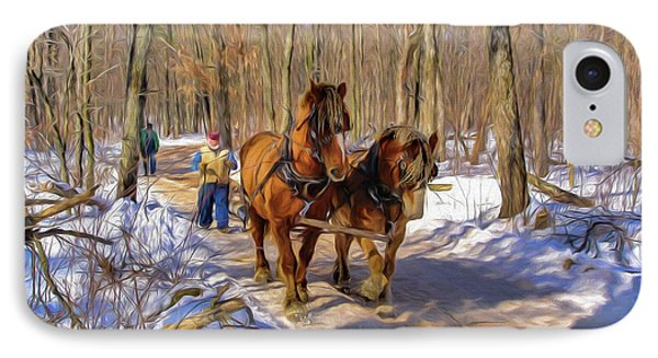 Logging Horses 1 IPhone Case