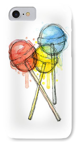 Lollipop Candy Watercolor IPhone Case by Olga Shvartsur