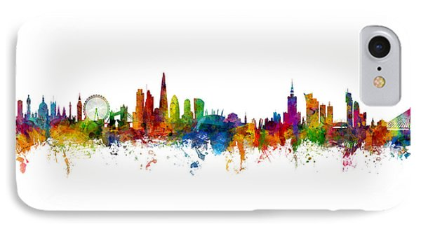London Skyline iPhone 7 Case - London And Warsaw Skylines Mashup by Michael Tompsett