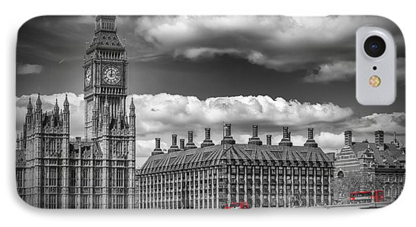 London Big Ben And Red Bus IPhone Case by Melanie Viola