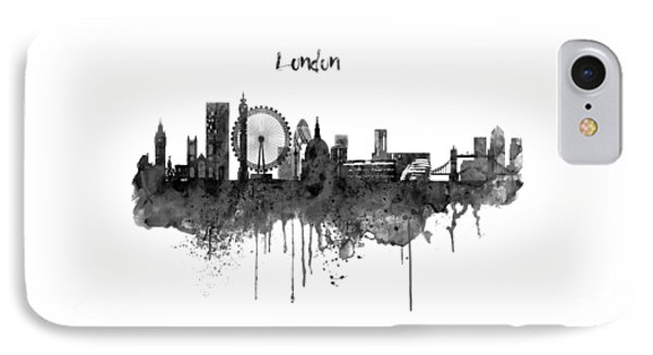 London Black And White Skyline Watercolor IPhone Case by Marian Voicu