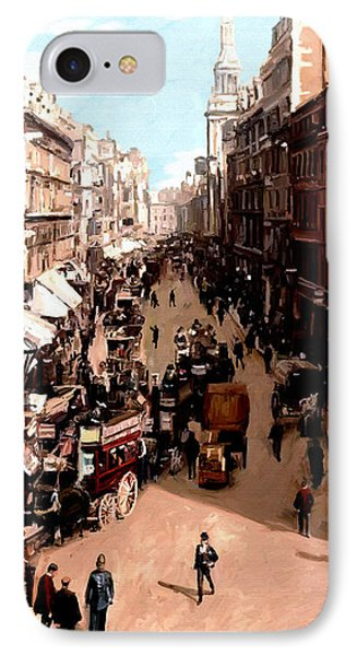 IPhone Case featuring the painting London Cheapside by James Shepherd