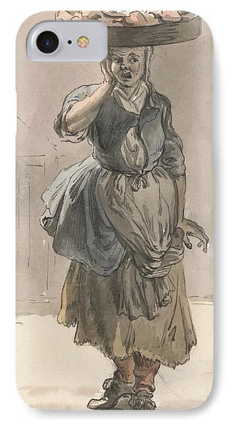 London Cries - A Girl With A Basket On Her Head IPhone Case by Paul Sandby