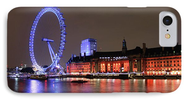 IPhone Case featuring the photograph London Eye By Night by RKAB Works