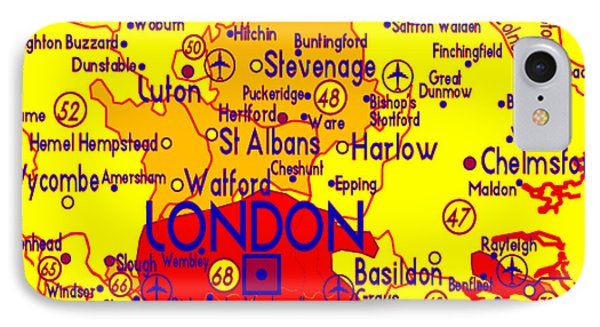 IPhone Case featuring the drawing London Map Mock-up by Digital Art Cafe