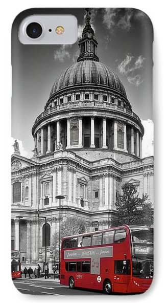London St. Pauls Cathedral And Red Bus IPhone Case by Melanie Viola