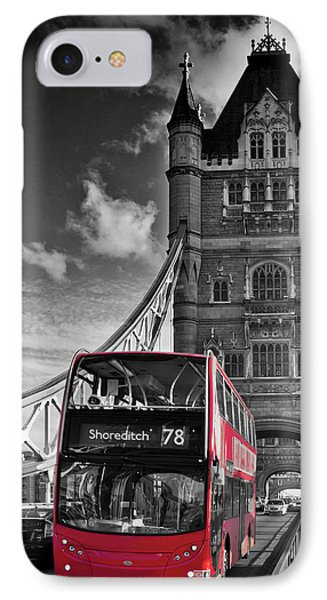 London Tower Bridge And Red Bus IPhone Case by Melanie Viola