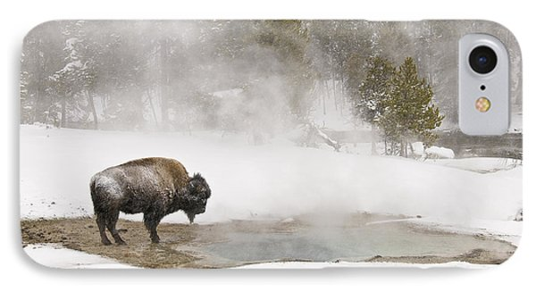 IPhone 7 Case featuring the photograph Bison Keeping Warm by Gary Lengyel