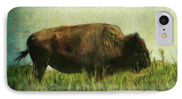 IPhone Case featuring the photograph Lone Bison On The Prairie by Ann Powell