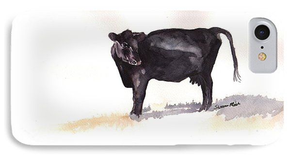 Lone Black Angus IPhone Case by Sharon Mick