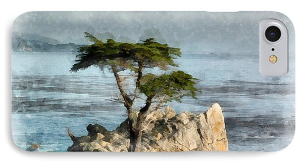 Lone Cypress Watercolor IPhone Case