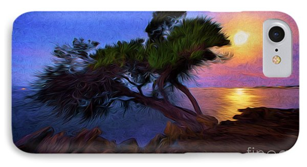 Lone Tree On Pacific Coast Highway At Moonset IPhone Case by John A Rodriguez
