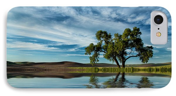 Lone Tree Pond Reflection IPhone Case