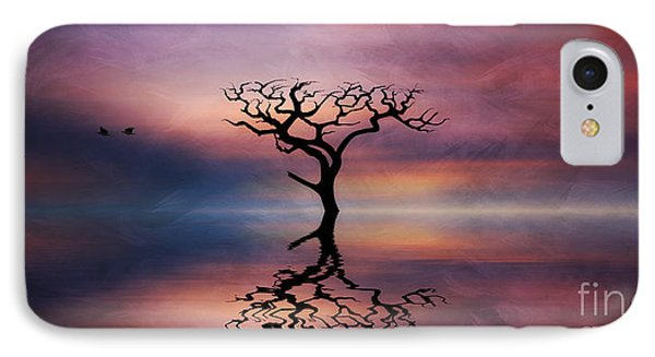 IPhone Case featuring the digital art Lone Tree Sunrise by Ian Mitchell