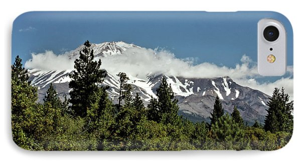 Lonely As God And White As A Winter Moon - Mount Shasta California Phone Case by Christine Till