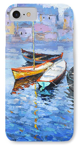 IPhone Case featuring the painting Lonely Boats  by Dmitry Spiros