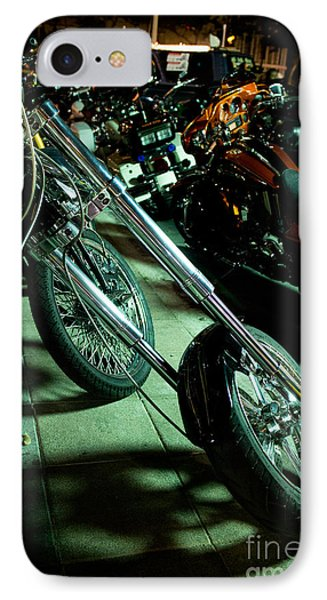 IPhone Case featuring the photograph Long Front Fork And Wheel Of Chopper Bike At Night by Jason Rosette