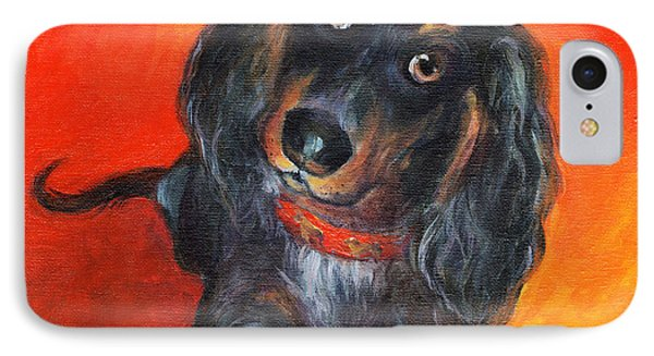 Long Haired Dachshund Dog Puppy Portrait Painting IPhone Case