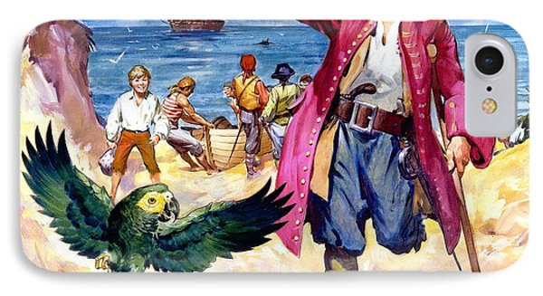 Long John Silver And His Parrot IPhone Case by James McConnell