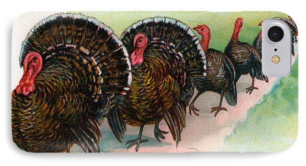 Long Line Of Thanksgiving Turkeys IPhone Case
