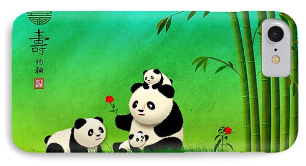 Longevity Panda Family Asian Art IPhone Case by John Wills