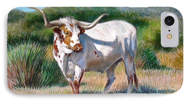 IPhone Case featuring the painting Longhorn Bull by Sue Halstenberg
