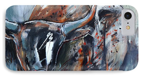IPhone Case featuring the painting Longhorn by Cher Devereaux