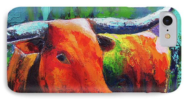 IPhone Case featuring the painting Longhorn Jewel by Karen Kennedy Chatham