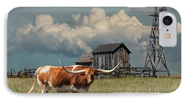 Longhorn Steer In A Prairie Pasture By Windmill And Old Gray Wooden Barn IPhone Case by Randall Nyhof