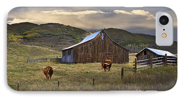 IPhone Case featuring the photograph Longhorns On The Road To Steamboat Lake by John Hix