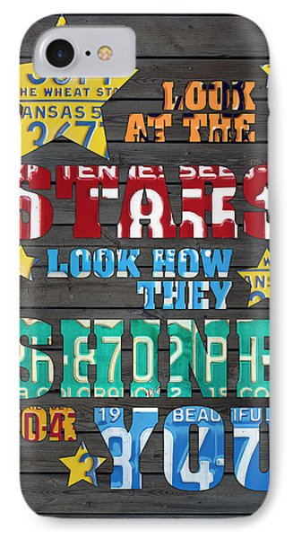 Look At The Stars Coldplay Yellow Inspired Typography Made Using Vintage Recycled License Plates IPhone 7 Case