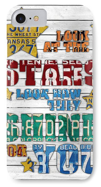 Look At The Stars Coldplay Yellow Inspired Typography Made Using Vintage Recycled License Plates V2 IPhone Case by Design Turnpike