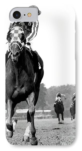 Looking Back, 1973 Secretariat, Stretch Run, Belmont Stakes IPhone Case by Thomas Pollart