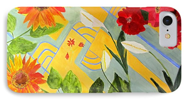 IPhone Case featuring the painting Looking Down On The Flowers On The Tile Floor by Sandy McIntire