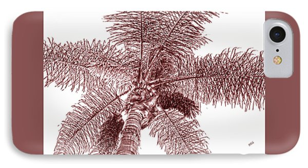 IPhone Case featuring the photograph Looking Up At Palm Tree Red by Ben and Raisa Gertsberg