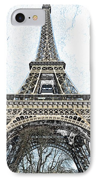 Looking Up At The Sunlit Face Of The Eiffel Tower In Paris France Colored Pencil Digital Art IPhone Case by Shawn O'Brien