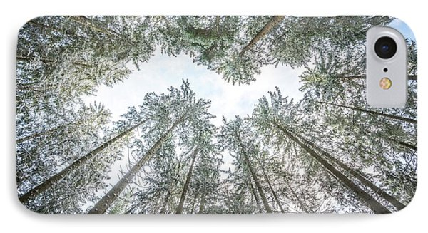 IPhone Case featuring the photograph Looking Up In The Forest by Hannes Cmarits