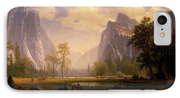 Looking Up The Yosemite Valley  IPhone Case by Albert Bierstadt