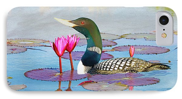 Loon iPhone 7 Case - Loon And Lotus by Laura D Young