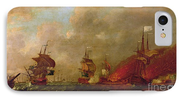 Lord Howe And The Comte Destaing Off Rhode Island IPhone Case by Robert Wilkins