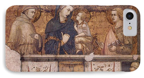 Lorenzetti Pietro Madonna With St Francis And St John The Evangelist IPhone Case
