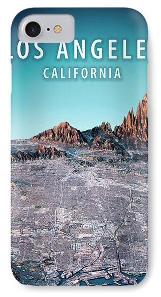 Los Angeles 3d Render Satellite View Topographic Map Vertical IPhone Case