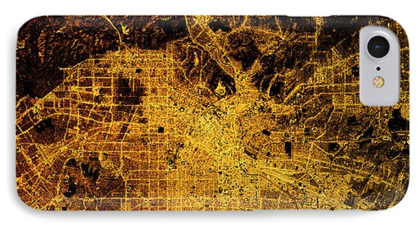 Los Angeles Abstract City Map Golden IPhone Case